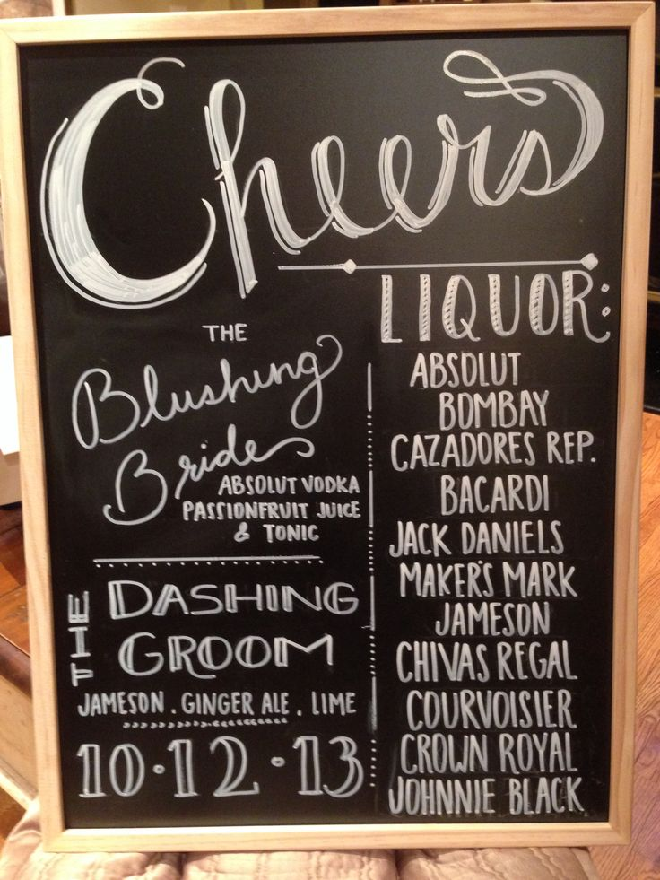 Chalk board wedding bar sign.... could use at bar to inform guests what is available, how long the open bar will last, and what our signature drink is.