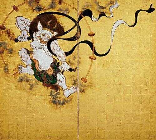 Tawaraya Sotatsu 国宝 風神雷神図屏風(左隻) 俵屋宗達筆 所蔵先 京都・建仁寺