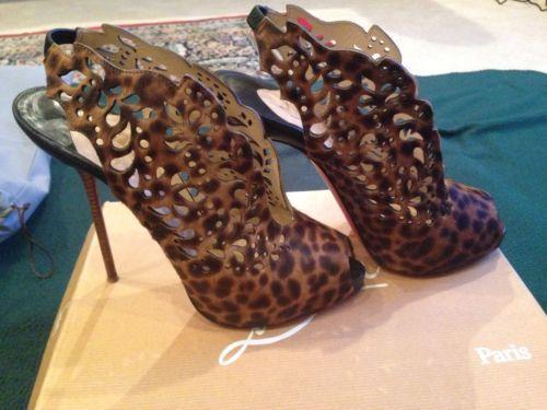 Christian Louboutin Peep Toe Pony Leopard Heels SIze 40(10)  US $400.00