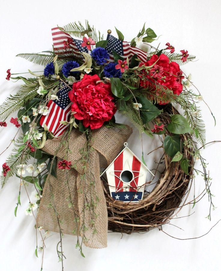 patriotic wreaths for front door1474 best images about wreaths on Pinterest  Burlap wreaths Door