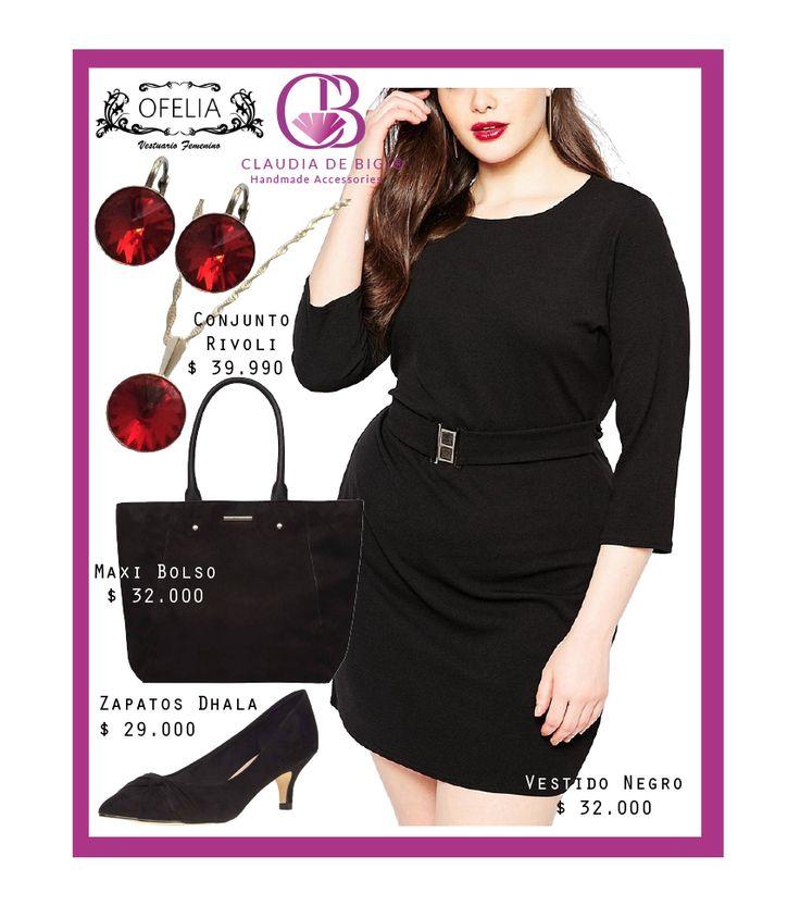 Vestido negro con cinturón, maxi bolso y zapatos negros, conjunto compuesto por aros y colgante con cristales Swarovski. Invierno 2016