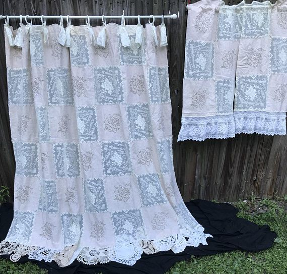 Shower Curtain With Matching Window Curtain Cream Shabby Nordic Chic Cottage Chic Decor Home Decor Bathroom Decor Doilies Vintage Embroidery Nordic Chic Curtains Cottage Chic
