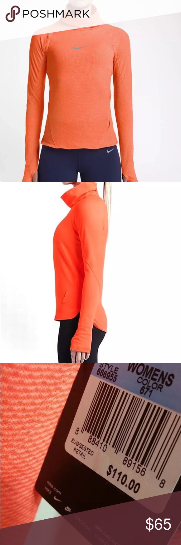 Nike AeroReact Pullover Running Training-Casual, Brand New With Tags! Nike AeroReact Pullover Women's Running Top NEW $110 Gym-Training-Casual, Style: 686955 Color: 671 (Neon Orange-Reflective Silver) Price: $110.00  Nike AeroReact fabric uses fibers that open to increase airflow when you sweat and close when you cool down, providing adaptable, breathable performance Thumbholes at the cuffs help keep the sleeves inlace and provide added warmth.  Cowl-neck design and dropped back hem for…