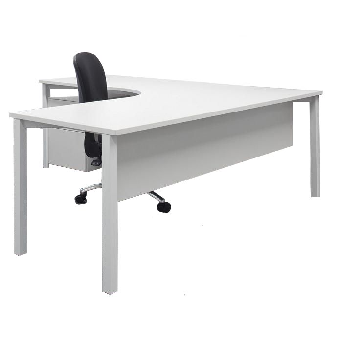 Presto - Radial Corner. The Presto Radial Executive Desk provides for a two piece radial top and combines the use of an optional decorative modesty panel, with optional mobile and fixed storage units to form an executive desk ideal for the modern working environment.