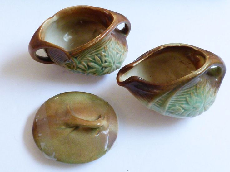 VTG Lot McCoy Pottery Creamer & Open Sugar Bowl Green Brown Daisy Pattern & lid | eBay