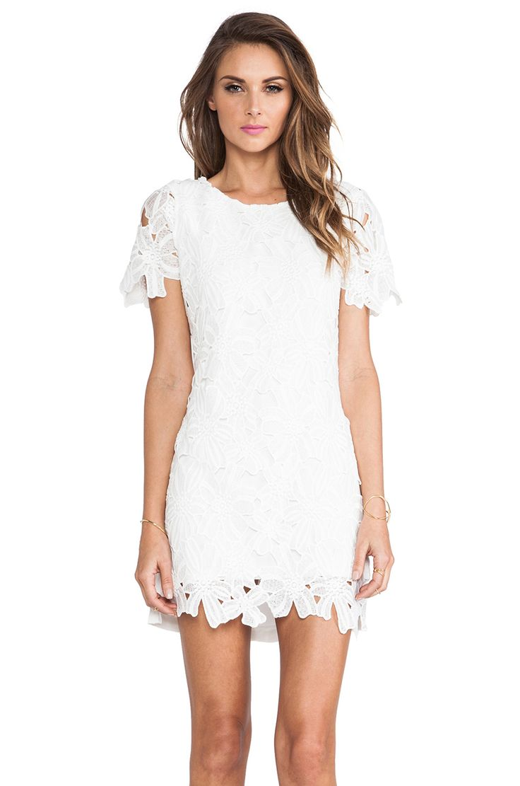 J.O.A. Flower Lace Dress in White