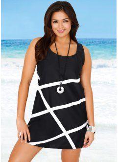 Комфортное платье для пляжа с контрастным рисунком спереди  Это слегка расклешенное мини-платье от бренда bpc selection очень удобно и идеально подходит для пляжа или отдыха у бассейна. Модель выполнена из синтетического материала с добавлением лайкры, который обеспечивает оптимальный комфорт и безупречную посадку на фигуре. Контрастные полоски спереди придают платью очень стильный вид. Благодаря сдержанному дизайну это короткое платье на широких бретелях никогда не выйдет из моды.