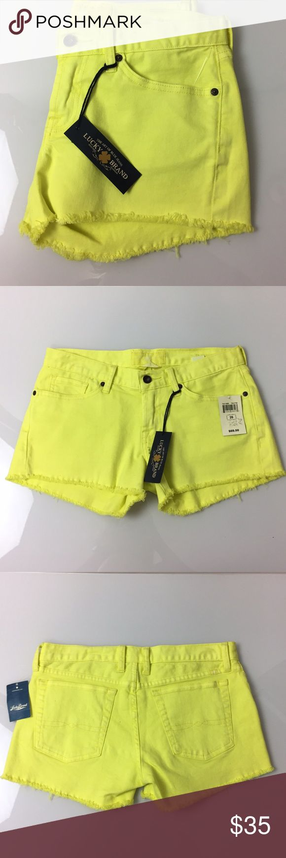 "Lucky Brand Neon Yellow Riley Cut Off Short 26 Bold color for your wardrobe! 32"" waist, 8"" Rise, 2.5"" inseam. New with tags.98% cotton, 2% spandex. A1101 Lucky Brand Shorts Jean Shorts"