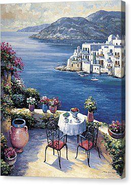 Aegean Vista Canvas Print by John Zaccheo