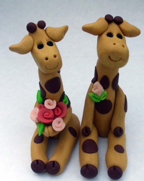 Wooden Giraffe Wedding Cake Topper