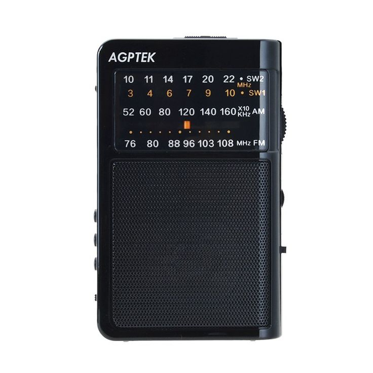 AGPtEK R09 AM/FM/SW World Band Receiver with MP3 Player ,Support Micro SD/USB Disk, Black