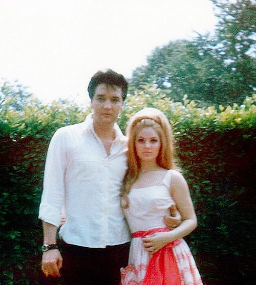 Elvis and Priscilla Presley, April 1966.  He met her when she was 14 and he was 24; he waited until she was 21 to marry her (5/1/67). Very interesting love story, to put it mildly-see: http://en.wikipedia.org/wiki/Priscilla_Presley