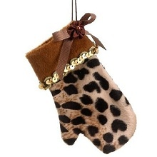 Diva Safari Cute and Cozy Cheetah Animal Print Mitten Christmas Ornament