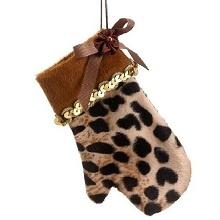 Diva Safari Cute and Cozy Cheetah Animal Print Mitten Christmas Ornament