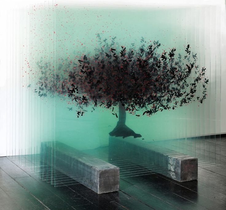 Blue Tree by Ardan Özmenoglu - she is a Turkish artist who works using a wide range of mediums including large-scale glass sculptures, works on Post-It notes, photography and neon lighting. Since 2006, she has had her work shown in over forty exhibitions, both solo and group exhibitions.