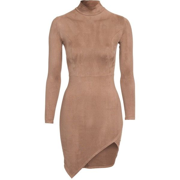 Nly One Slit Faux Suede Dress (£38) ❤ liked on Polyvore featuring dresses, slit dress, stretch dress, beige cocktail dress, tall dresses and long sleeve asymmetrical dress