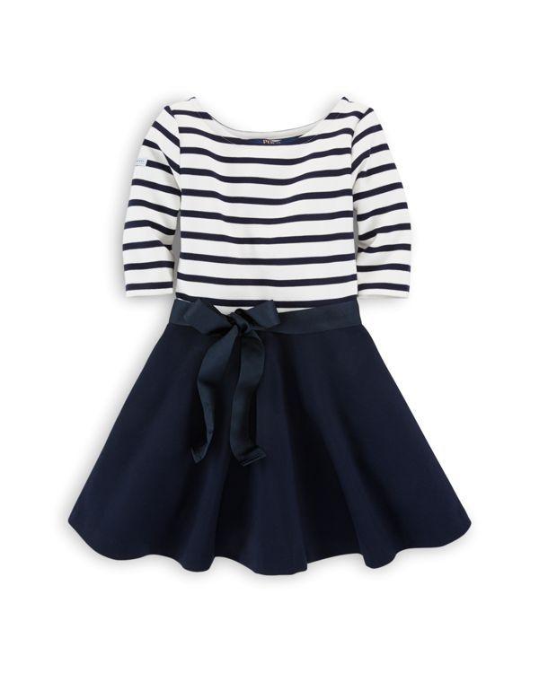 Ralph Lauren Childrenswear Girls' Striped to Solid Knit Dress - Sizes 2-6X