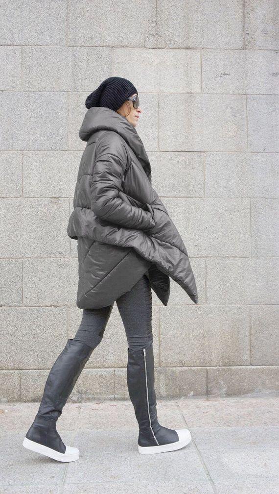 NEW+Winter+Extra+Warm+Asymmetric+Extravagant++Grey+by+Aakasha