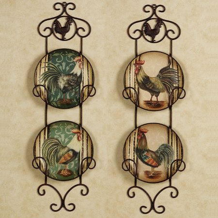 rooster kitchen decor | ... Rooster-Plates-Set-of-4-Roosters-Plate-Kitchen-Dining-Room-Wall-Decor