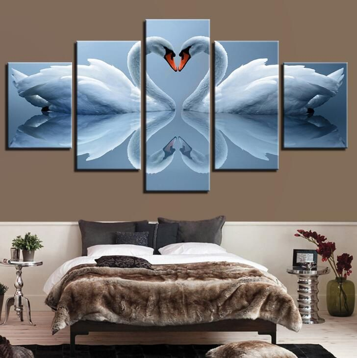 5pcs Canvas Printings Living Room Bed Room Wall Art Swan Poster Canvas Print Unframed Animal Painting Modular Home Decor Canvas Art Wall Decor Customized Canvas Art Wall Canvas