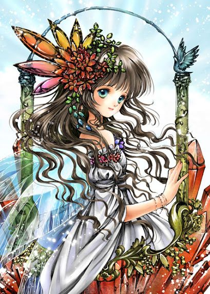 fairy princess with long light brown hair turquoise blue