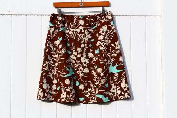 Swallow Study in Chocolate A-Line Skirt, Simple A-line Skirt, Thicker weight Sateen Fabric, Custom Made, You choose Fitted, Comfy, Loose