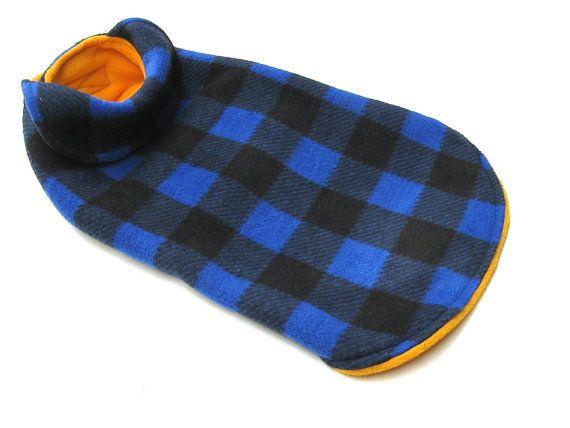 manteau pour chien  carreaux bleu et noir   par creationsanneclaude