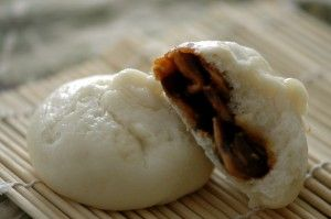 Steamed gluten free rice dumplings with sweet red bean paste filling