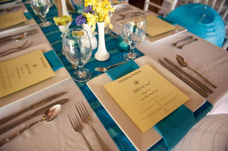 blue and yellow wedding table: Wedding Tables, Yellow Wedding, Craigs Wedding, Blue Tables, Table Runners, Fall Wedding, Burgundy Table