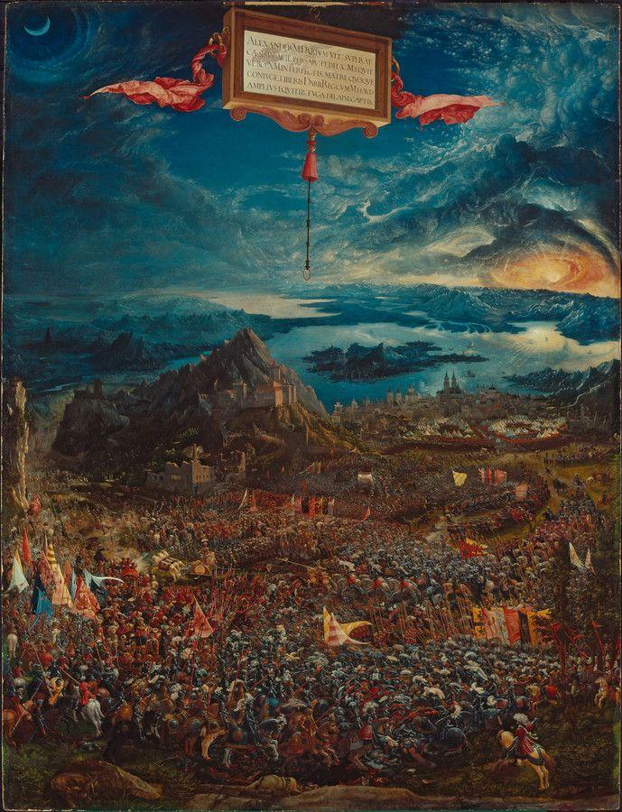 ALBRECHT ALTDORFER (1482-1538) HISTORIENZYKLUS: ALEXANDERSCHLACHT (SCHLACHT BEI ISSUS) (1529) Lindenholz (Tilia spec.), 158,4 x 120,3 cm (Bildfläche allseitig beschnitten) Aus der herzoglichen Kunstkammer in München Inv. Nr. 688