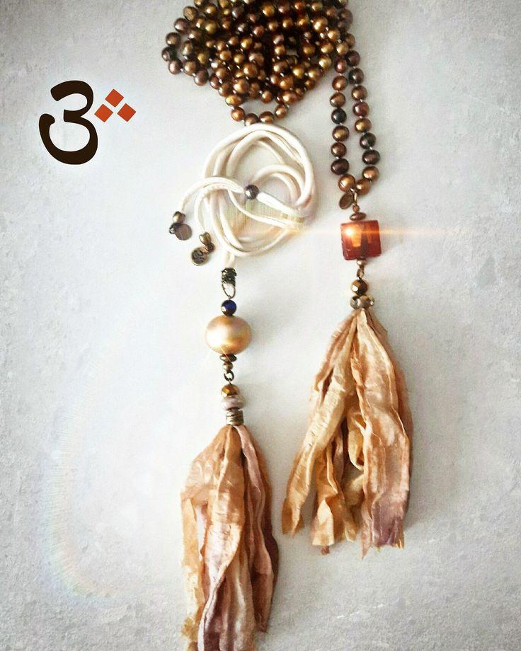 Beautiful necklaces using Perran Yarns handdyed recycled sari/chiffon silk ribbons