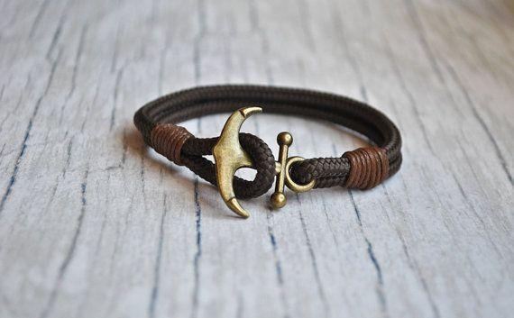 Brown paracord anchor mens nautical bracelet | sailor bracelet | anchor wristband | pulsera hombre | anker armband | fish hook bracelet