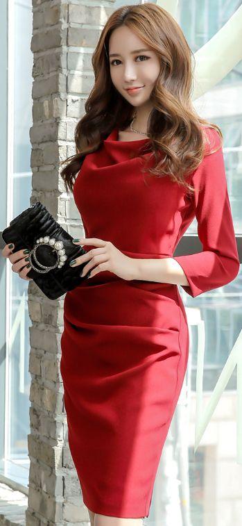 StyleOnme_Cowl Neck Shirred Dress #red #feminine #dress #slimfit #koreanfashion #kstyle #kfashion #seoul #falltrend
