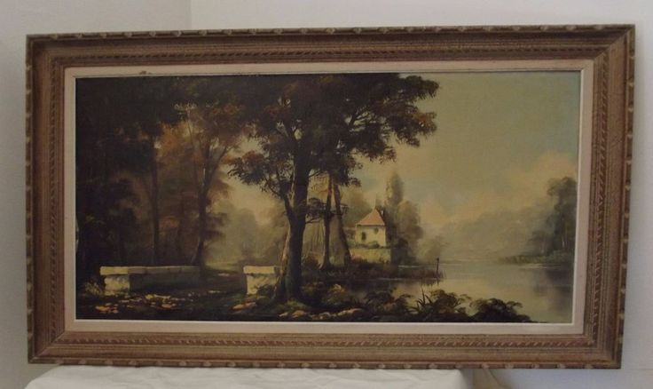 antique french LARGE painting still life landscape pond edge oil on canvas XXL X