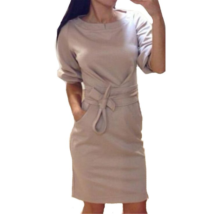 6,15 EUR, inkl. Versand: Winter Sweater Dress Women 2017 Fashion Half Sleeve O Neck Pockets Party Dresses Solid Bodycon Bandage Dress Vestidos Plus Size-in Dresses from Women's Clothing & Accessories on Aliexpress.com | Alibaba Group
