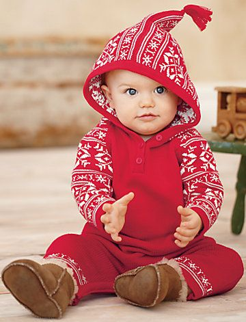 Hanna Andersson Speaking of Sweden Hoodie Romper - Christmas outfit for William