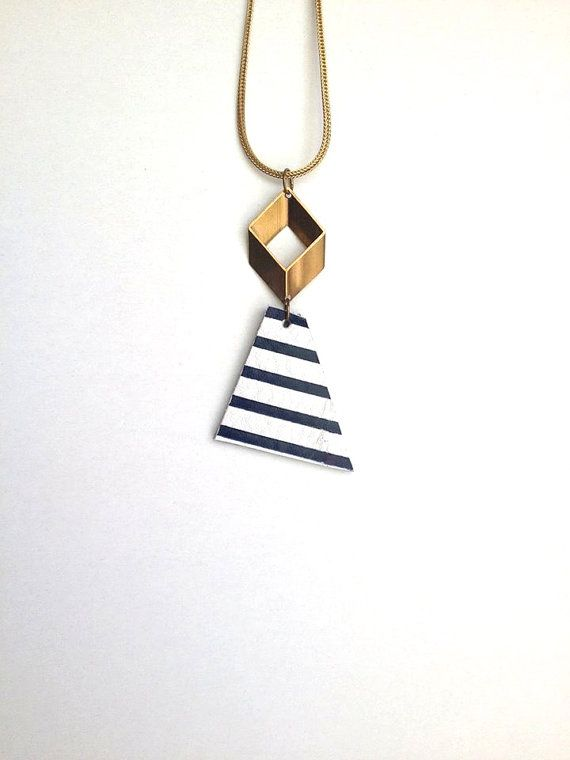 Dark Blue & White Minimalist Necklace - Striped Necklace - Geometric - Triangle - Statement - Leather Necklace - Brass and Leather - OOAK