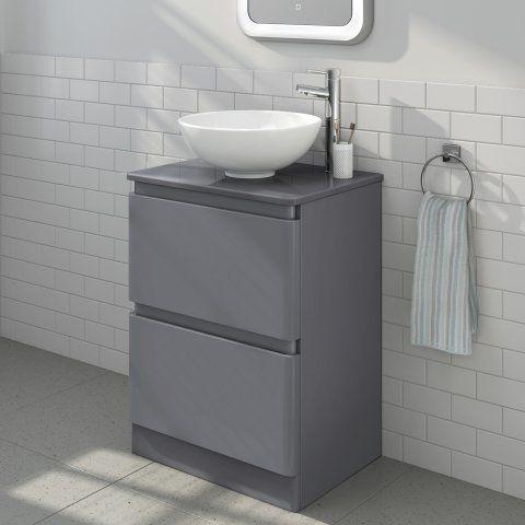 600mm Denver II Gloss GreyCountertop Unit & Basin Floor Standing [PT-MV2608T] - £259.99 : Platinum Taps & Bathrooms