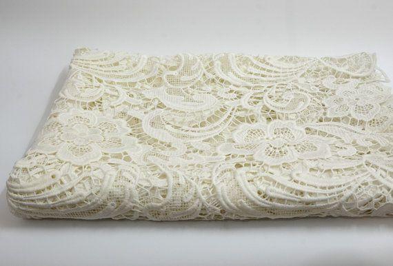 Reine weiße Guipure Spitze, weiße bestickte Spitze, reine weiße Hochzeit Spitze…