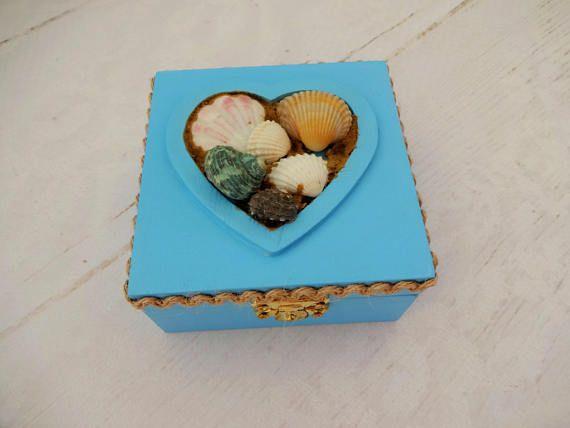Blue Nautical Ring Bearer Box Seashell Ring Box Beach