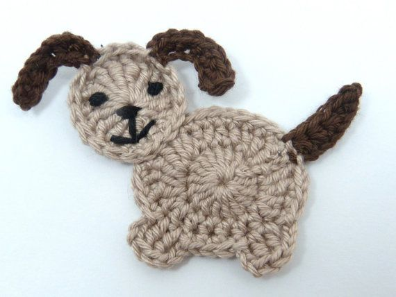 Beige and brown crochet applique dog cards by MyfanwysAppliques