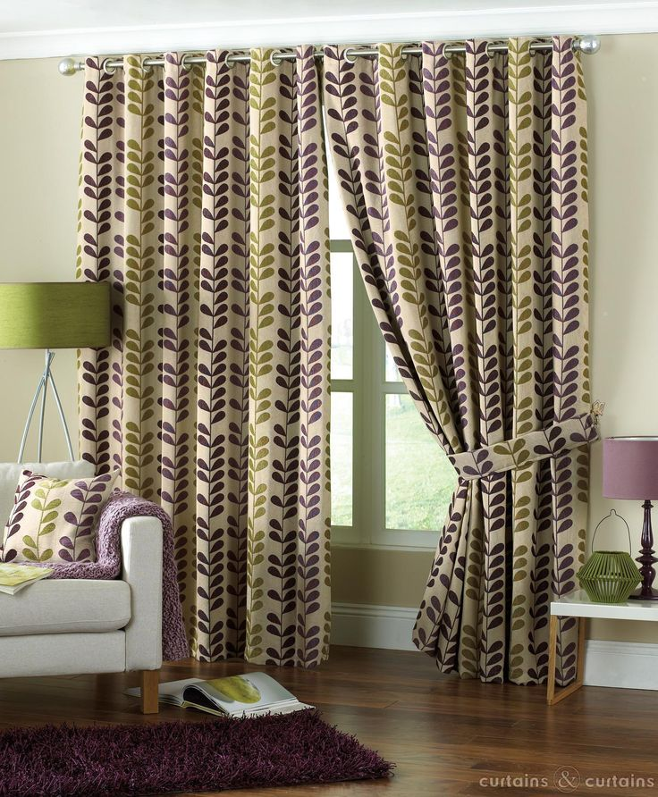 Delightful Aubergine Purple And Green Rhythm Chenille Lined Curtains. With Beautiful  European Inspired Floral Curtains With Modern Detailing. Part 28