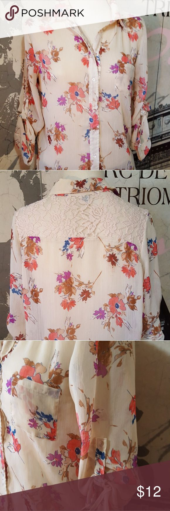 American Rag floral blouse Sheer, lightweight floral blouse.  American Rag brand.  Good shape, no stains or holes. American Rag Tops Blouses