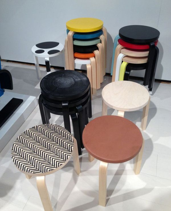 Artek had the collection of Stool 60′s 80th Anniversary editions on display where designers put their own spin on the iconic stool.