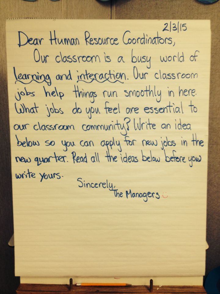 A morning message that encourages cooperative ownership of the classroom.