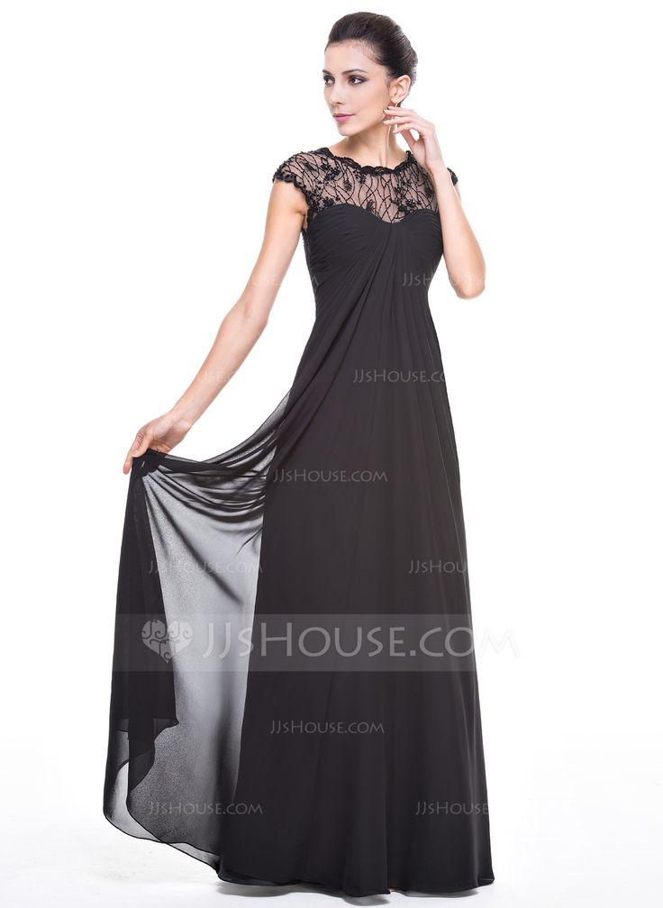 Empire Scoop Neck Floor Length Ruffle Beading Sequins Zipper Up Cap Straps Sleeveless No Black Lace Evening DressesGala DressesNice
