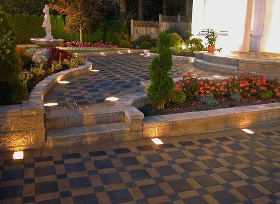 Paver Patio Ideas For Enchanting Backyard: Lighted Interlocking Paver Pathway