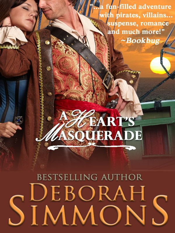 A Heart's Masquerade by Deborah Simmons, formerly published by Avon http://amzn.com/B008IJ4BI2