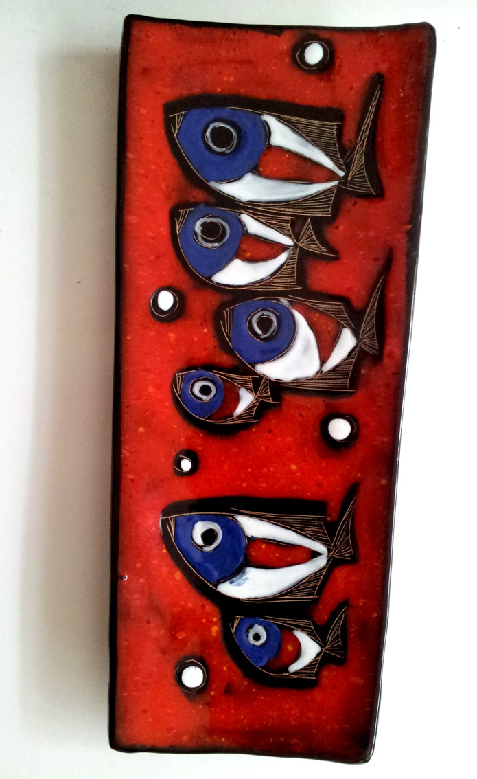 Mid 20th Century Ceramic Fish Plaque. signed by Rufinelli Assisi