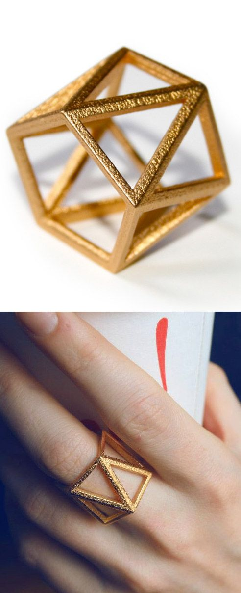 SKELETON TALL - Yellow gold faceted modern geometric 3D printed ring by  ButterscotchofBK on Etsy